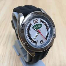 Vintage Scotts Logo By Sweda Mens Silver Tone Analog Watch Hours~New Battery