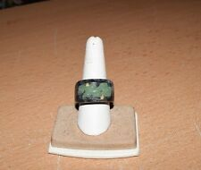 VERY COOL Marble Ring with Jade Dragon, 14K Gold and Diamonds Size 8.75