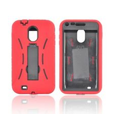 Red / Black Hybrid Case Cover with Kick Stand for Samsung Epic Touch 4G D710