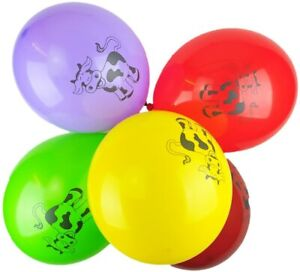"10x 12"" Multicoloured Latex Cow Balloons Farm Animal Cattle Birthday Decor"