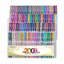 Reaeon 200 Gel Pens Coloring Set 100 Colored Gel Pen plus 100 R... Free Shipping