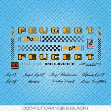 Peugeot PX/PY10 Bicycle Decals - Transfers - Stickers - Orange & Black - Set 354
