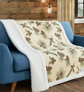 FOREST PINES SHERPA 50x60 THROW : QUILT LODGE PINECONE CABIN BROWN TREES BLANKET