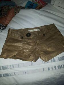 Gold Metallic Shiny Shorts, Size 5