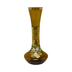 """Apco Japan Glass Hand Painted Amber Bud Vase Floral Gold Accents 8""""H"""