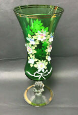 Nice Czech Bohemian Goblet Vase Green Glass Enameled Flowers & Gold Plated 10""