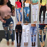 Womens High Waisted Ripped Stretch Slim Skinny Jeans Denim Ladies Jeggings Pants