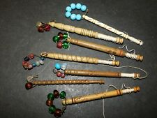 7 ANTIQUE CARVED WOODEN & BOVINE LACE BOBBINS WITH SPANGLES LACEMAKING