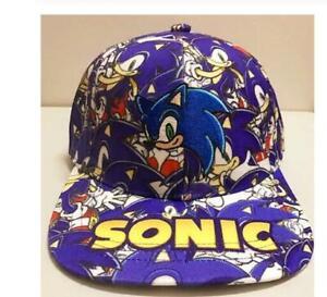 new blue embroidery Cartoon Boy Sonic The Hedgehog Adjustable Baseball Hat Cap