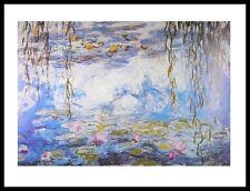 Claude Monet Wasserlilien Poster Kunstdruck mit Alu Rahmen in schwarz 24x30cm