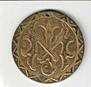 "LOVE TOKEN Gilded & Ornate ""I.M"" Monogram on an 1850 Upper Canada Penny Holed"