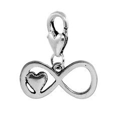 Infinity Sign Heart Eternal Everlasting Love Clip On Dangle Charm for Bracelets