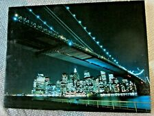 leuchtbild LED bild mit farbwechsel 40x30 manhattan (brooklyn bridge) at night