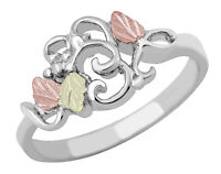 Black Hills Gold on Sterling Silver Ladies Ring with Swirls Size 4 - 10