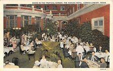 c.1920 Tropical Garden Dining Nueces Hotel Corpus Christi TX post card
