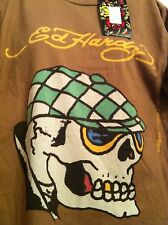 New With Tags Men's Don Ed Hardy Sport Print Brown XL SS By Christian Audigier