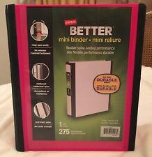 Staples Better Mini Binder Pink 1 Inch D Ring NEW