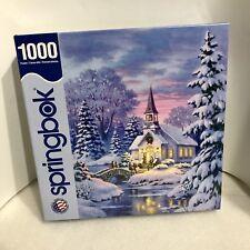 Vintage Springbok Village Chapel 1000 Piece Puzzle Made In USA Christmas 2014
