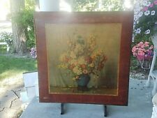 vtg Ornate Victorian Wooden Folding Card Table Floral standing fireplace screen