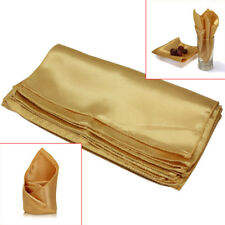 10Pcs Wedding Party Tableware Home Dinner Table Polyester Cloth Napkins Gold