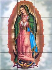 Virgin of Guadalupe Religious Catholic Ceramic Tile Murals 12.75 X 17 inches