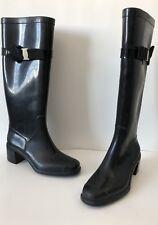 Auth Salvatore Ferragamo Vara Black Rubber Womens Boots Size 5