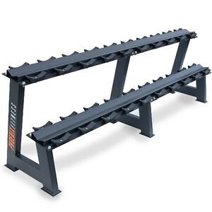 Weight Steel Metal Storage Holder Rack, 2 Tiers Stand For Fixed Weight Dumbbells