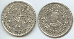 GS287 - Morocco 500 Francs AH1376-1956 Y#54 Silver Mohammed V. Marokko
