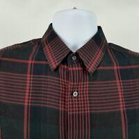 Vince Mens L/S Black Red Plaid Check Casual Button Shirt Sz Medium M