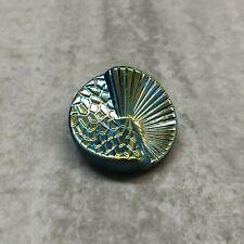 Czech Glass Button Jet AB Fan Size 10