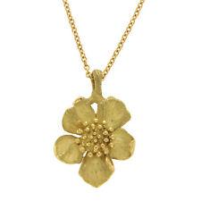 "Auth Tiffany & Co. Vintage 18k Gold Wild Rose Dogwood Flower Necklace Size 16"""