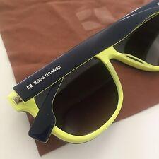 HUGO BOSS ORANGE Dark Blue Yellow Men's Gradient Sunglasses BO0064/S NEW Case