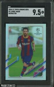 2020-21 Topps Chrome Refractor UEFA Soccer #1 Lionel Messi Barcelona SGC 9.5 MT+