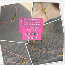 Bracelet Chapelet Croix Perles Résine Rose Flash Plaque Or Chaine Ref Gigi Promo