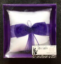 "NIB Studio His & Hers Wedding Ring Bearer Pillow, Purple on White, 6.5"" Sq M"