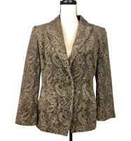 Linda Allard Ellen Tracy Brown Velvet Paisley Blazer    Size: 8