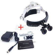 New Dental Headband Surgical Medical Binocular Loupes /Magnifier+LED Head Light