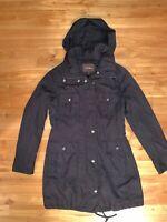 Cole Haan Black Women's Small Multi-Pocket Hooded Jacket
