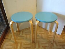 Lithuania 2 Stacking Bentwood 4 legs Turquoise Round Stool Wood Post 1950s Retro