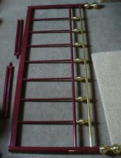 RED( BURGUNDY) METAL AND BRASS HEADBOARD FOR 4FT 6INCH DOUBLE BED.