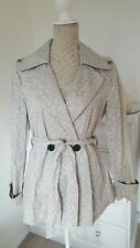 Armani Exchange Women Cotton Animal Print Beige Trench Coat Jacket Blazer Size M