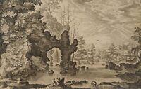 MAIOR(?), Bewaldete Flusslandschaft mit Felsen, um 1800, Kupferstich