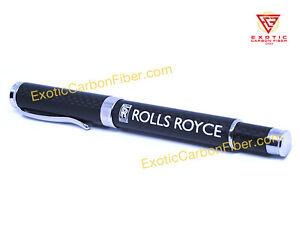 Rolls Royce White Text and  Logo Carbon Fiber Ballpoint Pen - GREAT GIFT!!