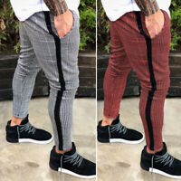 Mens Chinos Plaid Trousers Slim Fit Stretch Flat-Front Skinny Leggings Pants
