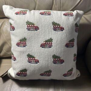 "Pottery Barn Mini Woody Car Crewel 16"" Complete Pillow ~ Christmas/Holiday ~ NWT"