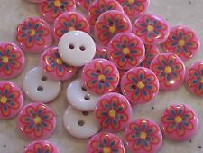 40 x Pink Flower Design Resin Buttons 11mm - FREE P&P!