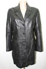 VESTE  EN CUIR NOIR  42 XL MANTEAU JACKET TRENCH