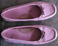 WOMENS PINK ALLIGATOR PATTERN LEATHER MOCCASIN FLATS RALPH LAUREN GENTLY USED