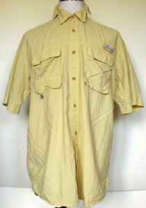 World Wide Sportsman Nylon Vented Yellow Short Sleeve Fishing Shirt L