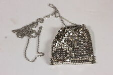 Vintage Silvertone Mesh Metal Coin Purse Chatelaine W/ Chain Drawstring